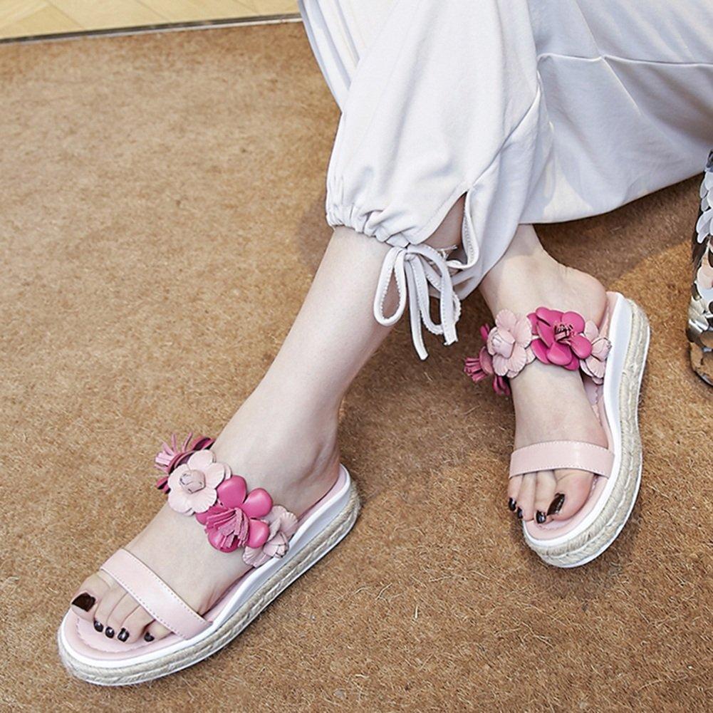 PENGFEI Zapatillas Verano De Las Mujeres Plano Playa Flores Tejeduría, Altura del Talón 3.5CM, 2 Colores (Color : Pink, Tamaño : EU36/UK4.5/US6/230) EU36/UK4.5/US6/230|Pink