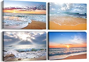 4 Panels Modern Seaview Beach Bathroom Canvas Wall Art for Home Decor Ocean sea Sunset Seascape Painting Picture Home Decorations for Bedroom