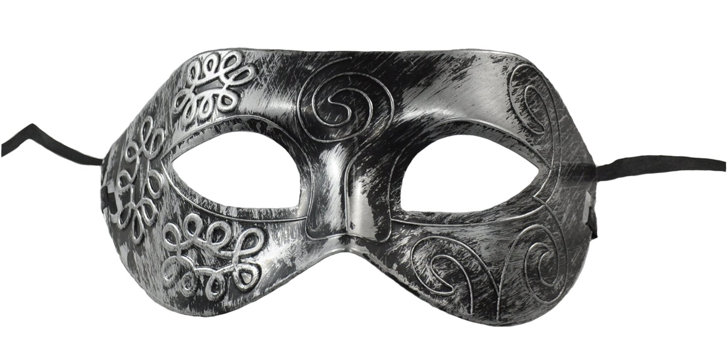 1Bay Men's Rustic Swirl Masquerade Mask With Body Jewelry Tattoos O/S Silver