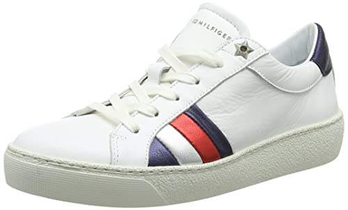 3e5c893051cd Tommy Hilfiger Women s s Corporate Iconic Sneaker Low-Top (White 100) ...