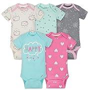 Gerber Baby Girls Onesies Bodysuits 5 Pack, Clouds, 6-9 Months