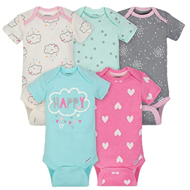 dc27594097 Amazon.com  Gerber Baby Girls  5-Pack Variety Onesies Bodysuits ...