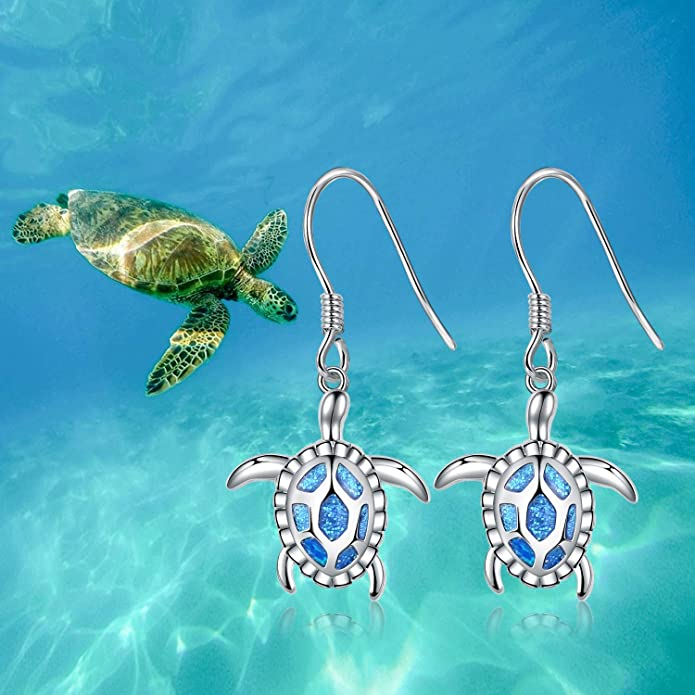 STERLING SILVER HAWAIIAN SEA TURTLE NAUTICAL SEA LIFE ANIMAL DANGLING EARRINGS