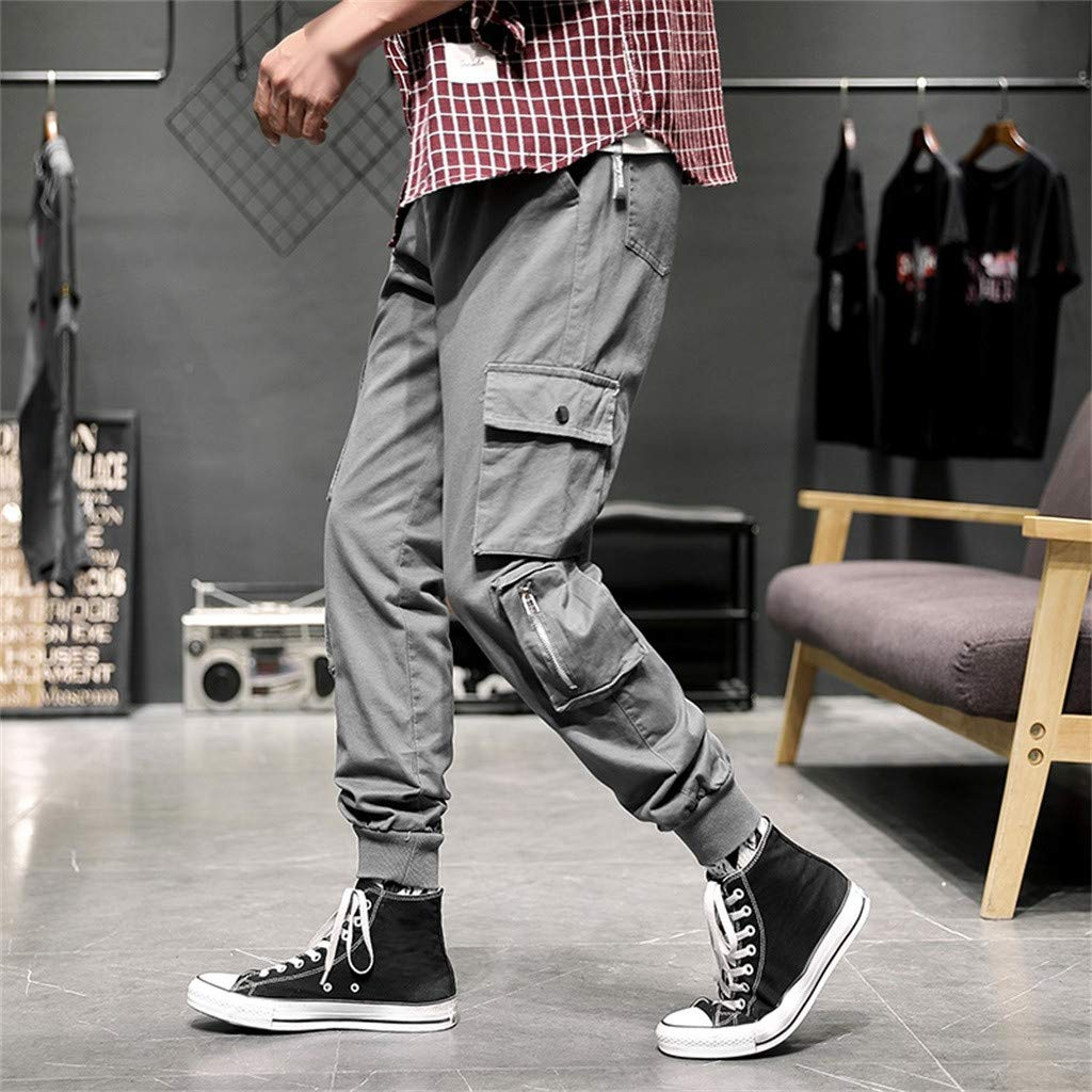 IAMUP Mens Popular Summer Casual Cotton Elastic Waist Multiple Pockets Loose Jeans Loose All Season Pants