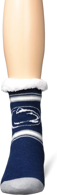 FOCO NCAA unisex-adult Stripe Logo Tall Footy Slipper