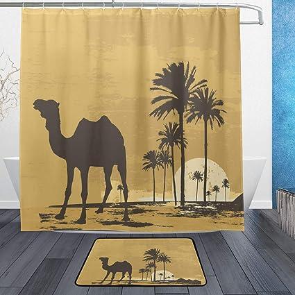 Amazon LORVIES Desert Camel Bathroom Set Polyester Fabric