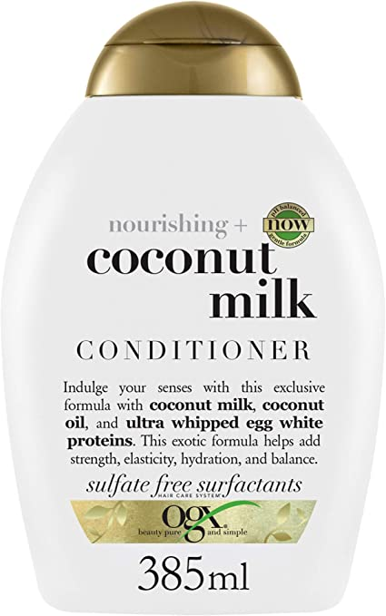 OGX Acondicionador sin Sulfatos Hidratante para Pelos Secos, Leche de Coco, 385 ml