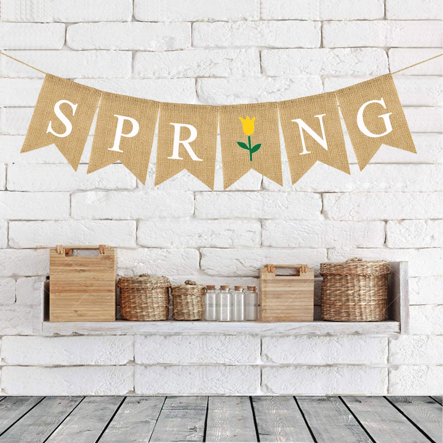 Rustic Burlap Wall Hanging Banner Garland Hello Spring Banner Decoration Welcome Spring Banner Signs Swallowtail Letters Flag Seasonal Home Decors for Fireplace Mantel Garden Indoor Outdoor