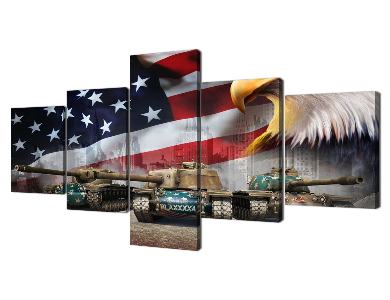 Wallart_22 50''W x 24''H Damaged Weapon Gun Canvas Print Pictures Framed, Modern Contemporary Paintings on Canvas Posters and Prints Wall Art for Living Room Bedroom Home Decor Gallery-wrapped Art 5 Piece Set (60''W x 32''H)