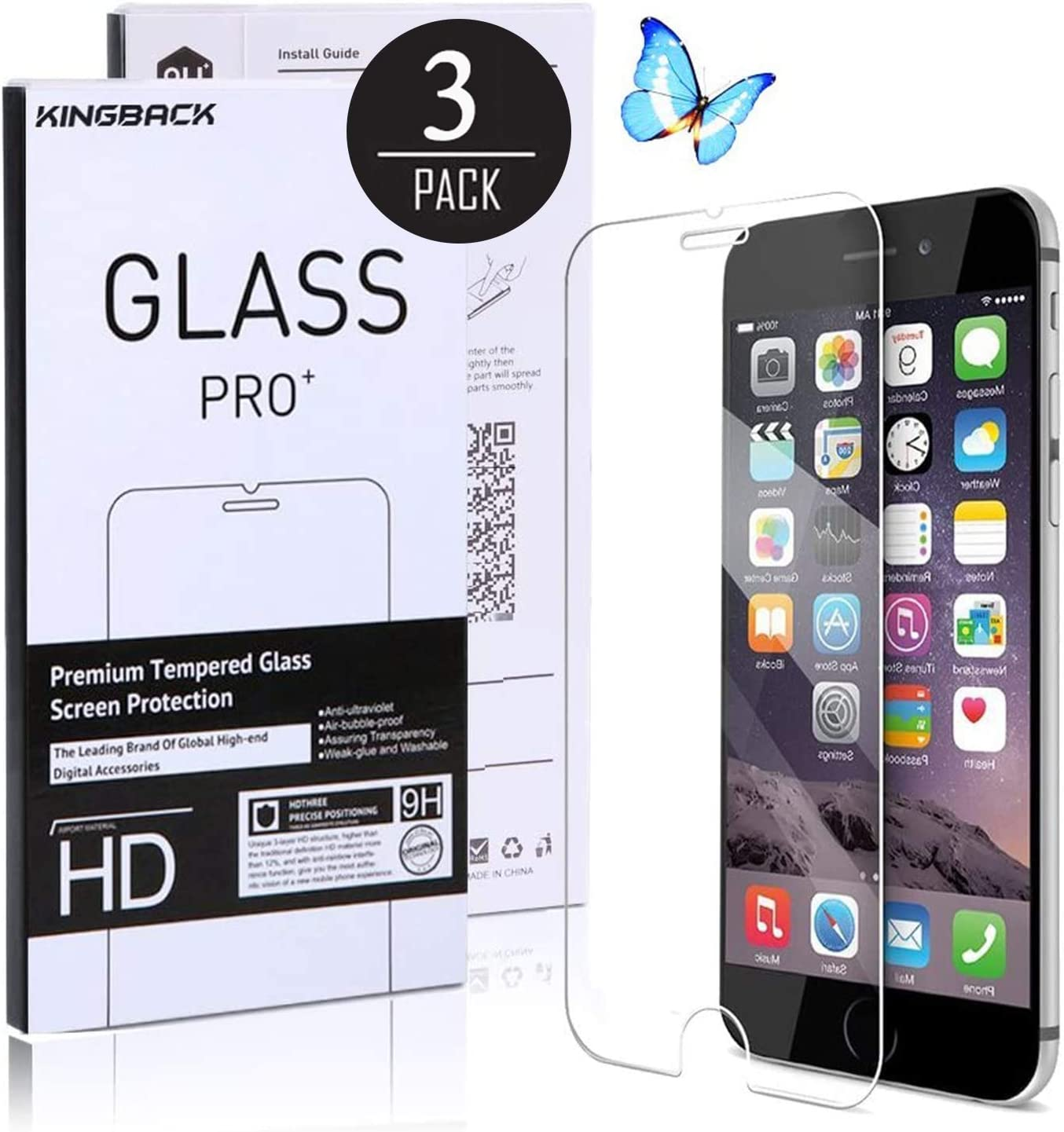 [3-Pack] Screen Protector for iPhone 6 Plus/iPhone 6s Plus,Tempered Glass Film,3D Touch Easy Installation Scratch-Resistant -5.5INCH