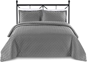 Basic Choice 3-Piece Oversized Quilted Bedspread Coverlet Set - Weave / Charcoal Gray, King / California King
