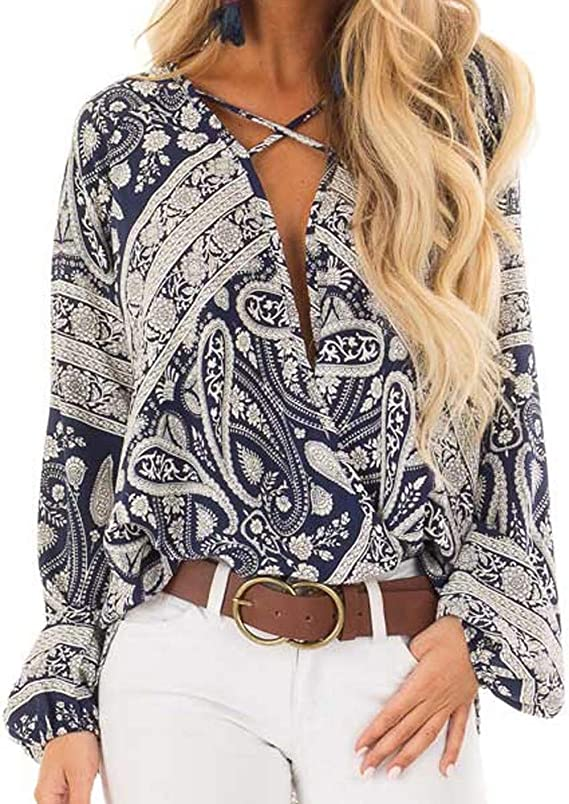 Women Sexy Tops Floral Print V Neck Criss Cross Blouse Casual