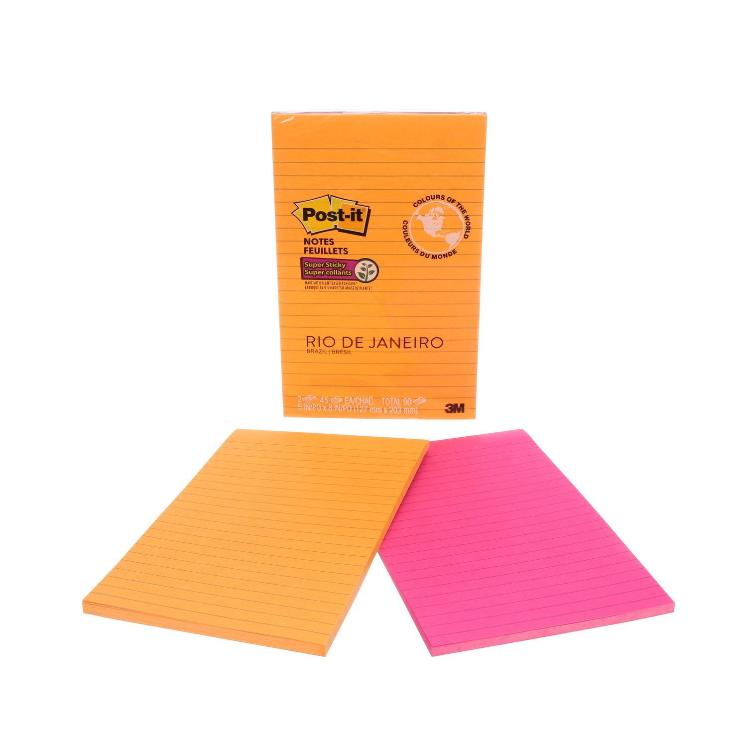 Post-it Super Sticky Notes, 5 x 8, Rio de Janeiro Colours, Lined, 2 Pads/Pack 5 x 8 3M Canada Company 5845-SS-C