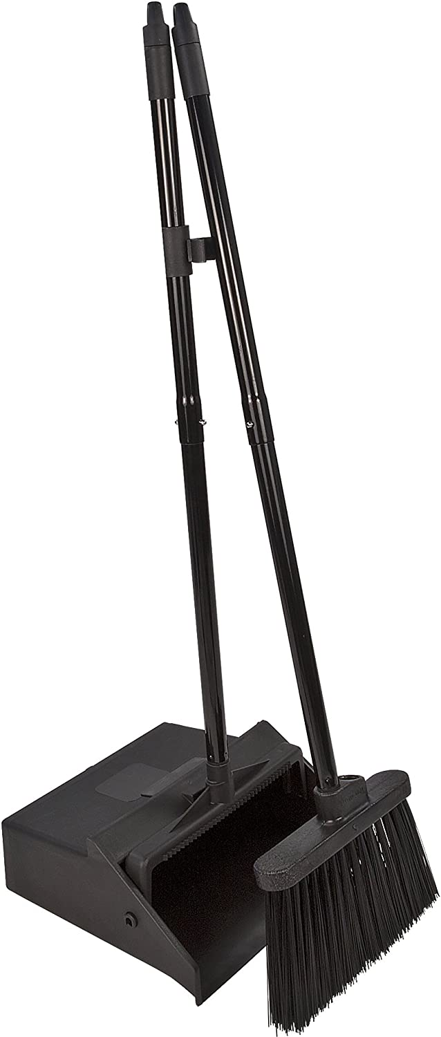 Carlisle 36141503 Duo-Pan Dustpan & Lobby Broom Combo, 3 Foot Overall Height, Black: Home & Kitchen