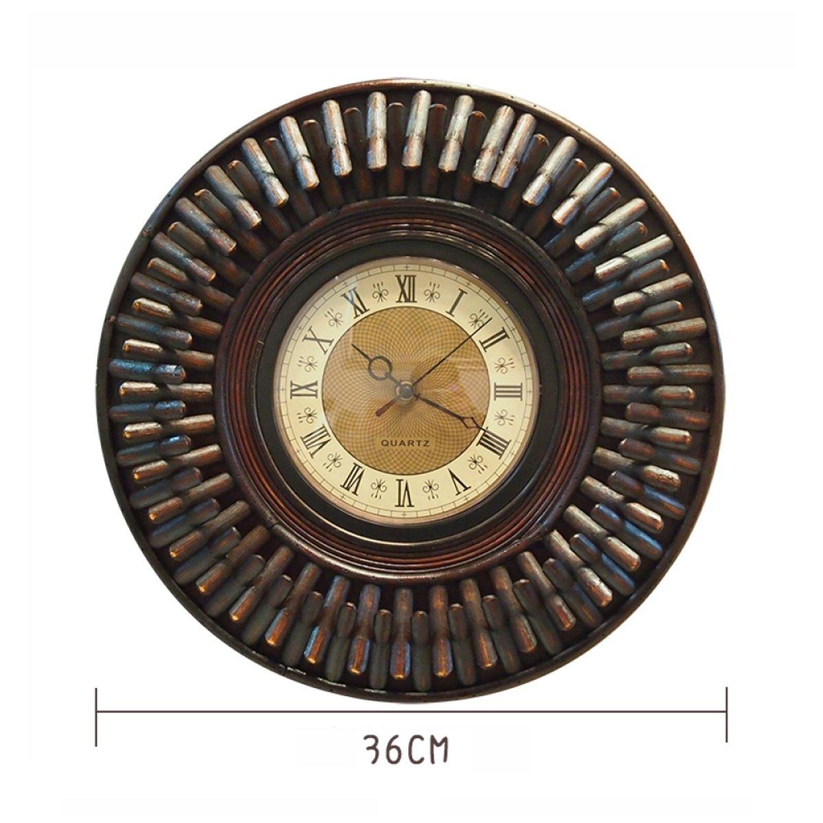 WAZY ウォールクロックアメリカンスタイルのレトロな家庭の竹時計と時計ヨーロッパのレストランアートの装飾的な壁のチャート(茶色の36 * 36センチメートル1パッキング) (色 : B) B07DW6661N B B