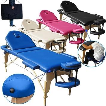 Beltom Camilla de Masaje 3 Zonas Modelo portatil Mesa Cama Banco Plegable Reiki - Azul: Amazon.es: Hogar