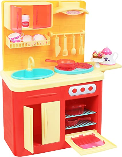 Amazon Com Click N Play 22 Piece 18 Doll Kitchen Play Station With Accessories Lights And Sounds Perfect For 18 Inch American Girl Dolls Toys Games