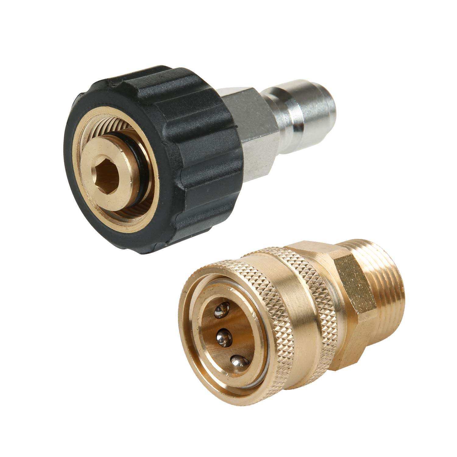 Sooprinse Pressure Washer Adapter Set,Quick Connect Kit,5000 PSI, M22 14mm Swivel to M22 Metric Fitting