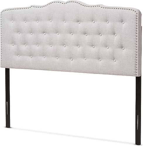 Baxton Studio Karessa Modern Contemporary Greyish Beige Fabric King Size Headboard