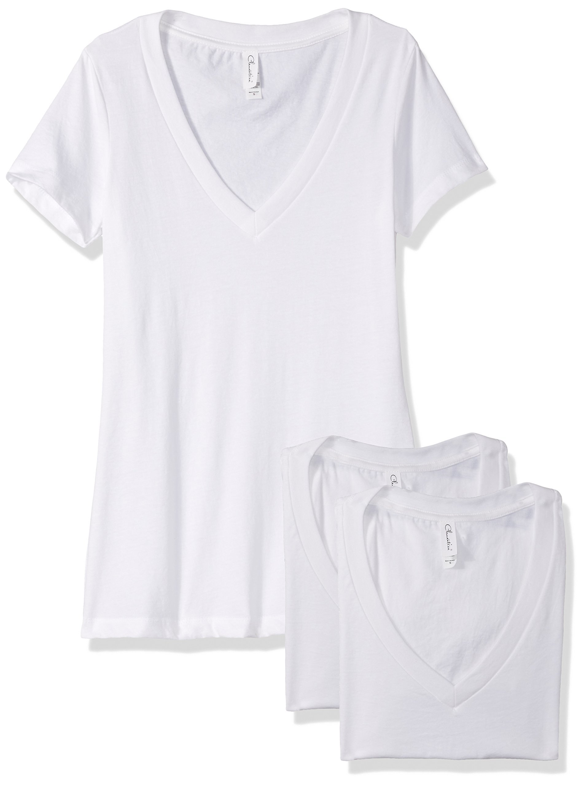 Clementine Apparel Women's Petite Plus Deep V Neck Tee (Pack of 3), White/White/White, XL