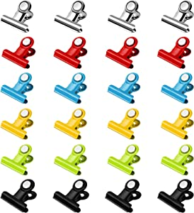 SMARTAKE 24-Pack Magnetic Clips, Scratch-Free Magnetic Metal Hooks Clips, Portable Refrigerator Magnets Clips, Whiteboard Magnetic Clips for Kitchen, Office, Organization & Decorating (Multi-Color)