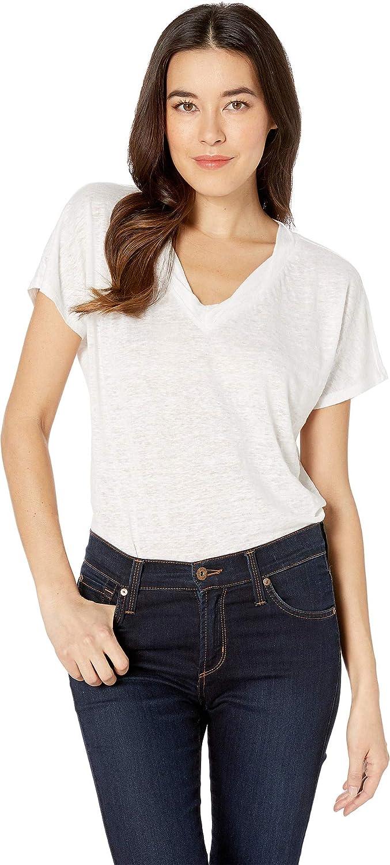 Optic White NYDJ Womens Linen VNeck TShirt