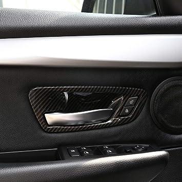 4 piezas de fibra de carbono para 2 series Gran Tourer F45 F46 218i 2014-2018 ABS interior puerta cubierta de tazón embellecedor coche accesorios: ...