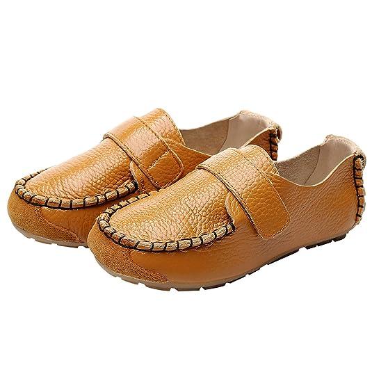 rismart Niño Niña Clásico Gancho y Lazo Ponerse Cuero Oxford Plano Mocasines Zapatos: Amazon.es: Zapatos y complementos