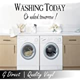 Washing Today or Naked Tomorrow Funny Utility Laundry Room Wall Sticker Decal