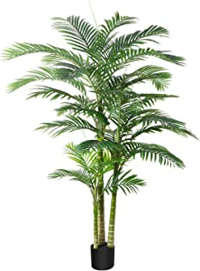 DR.Planzen Artificial Golden Cane Palm Tree 6 Feet Fake Plant for Home Decor Indoor Outdoor Faux Areca Palm Tree in Pot for Home Office Perfect Housewarming Gift
