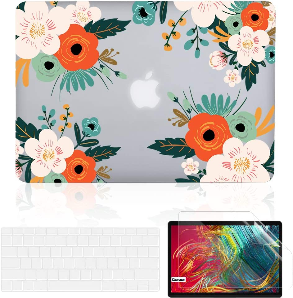 iDonzon MacBook Air 13 inch Case Set (A1466/A1369, 2010-2017 Release), Matte Clear Hard Cover & Keyboard Cover & Screen Protector Compatible with Older Version Mac Air 13.3 inch - Red Flower