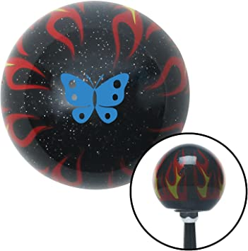 Blue Classic Butterfly Black Flame Metal Flake American Shifter 294007 Shift Knob