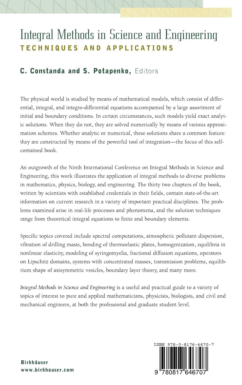 integral methods in science and engineering potapenko s