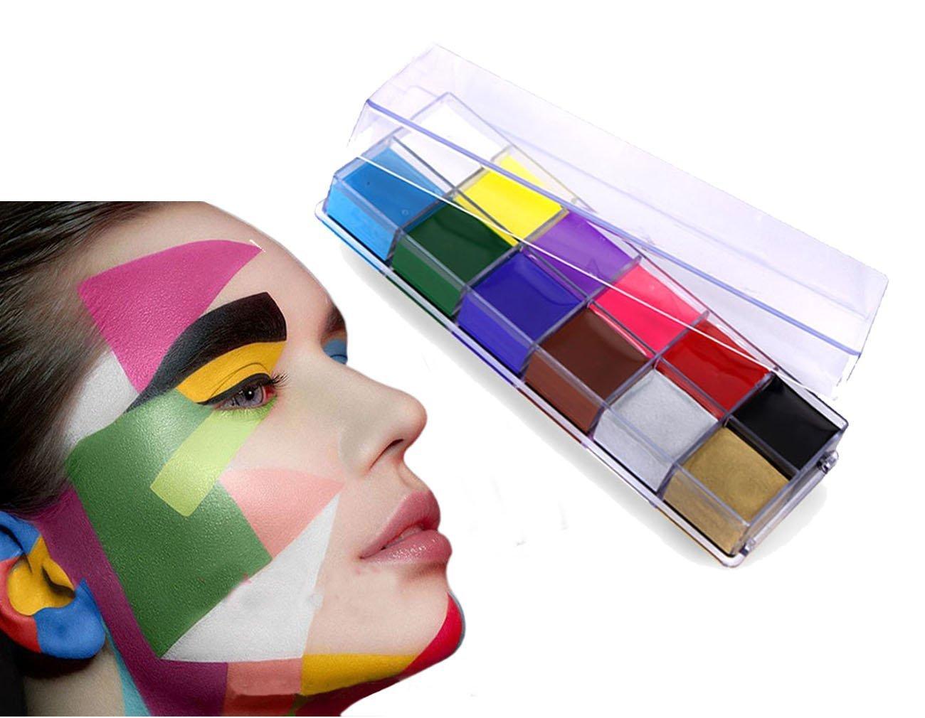Peinture Corporelle de 12 Couleurs de Peinture Pigment Corps Théâtre / Clown / Maquillage Décor Halloween / Couleur du Visage Peinture à Huile Maquillage Body Painting Deguisement
