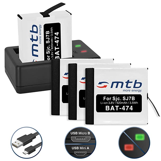 4 Baterías + Cargador Doble (USB) para cámara Deportiva SJCAM SJ7 Star 4K NATIV WiFi (Black/Silver/Rose Edition), SJ7000 Star Actioncam - Contiene ...