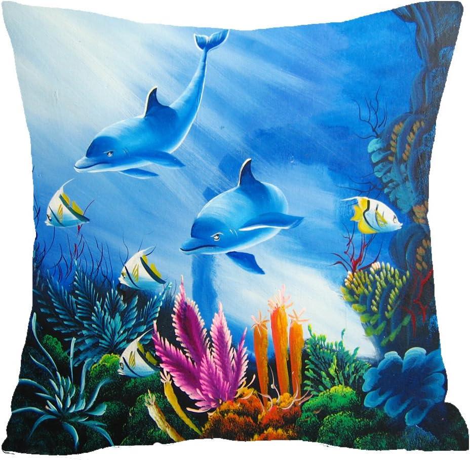 Blue Ocean Animal Dolphin Seaweed Coral Aquarium Cotton Linen Square Throw Waist Pillow Case Decorative Cushion Cover Pillowcase Sofa 18 X 18 18x18 Inches 1 Home Kitchen