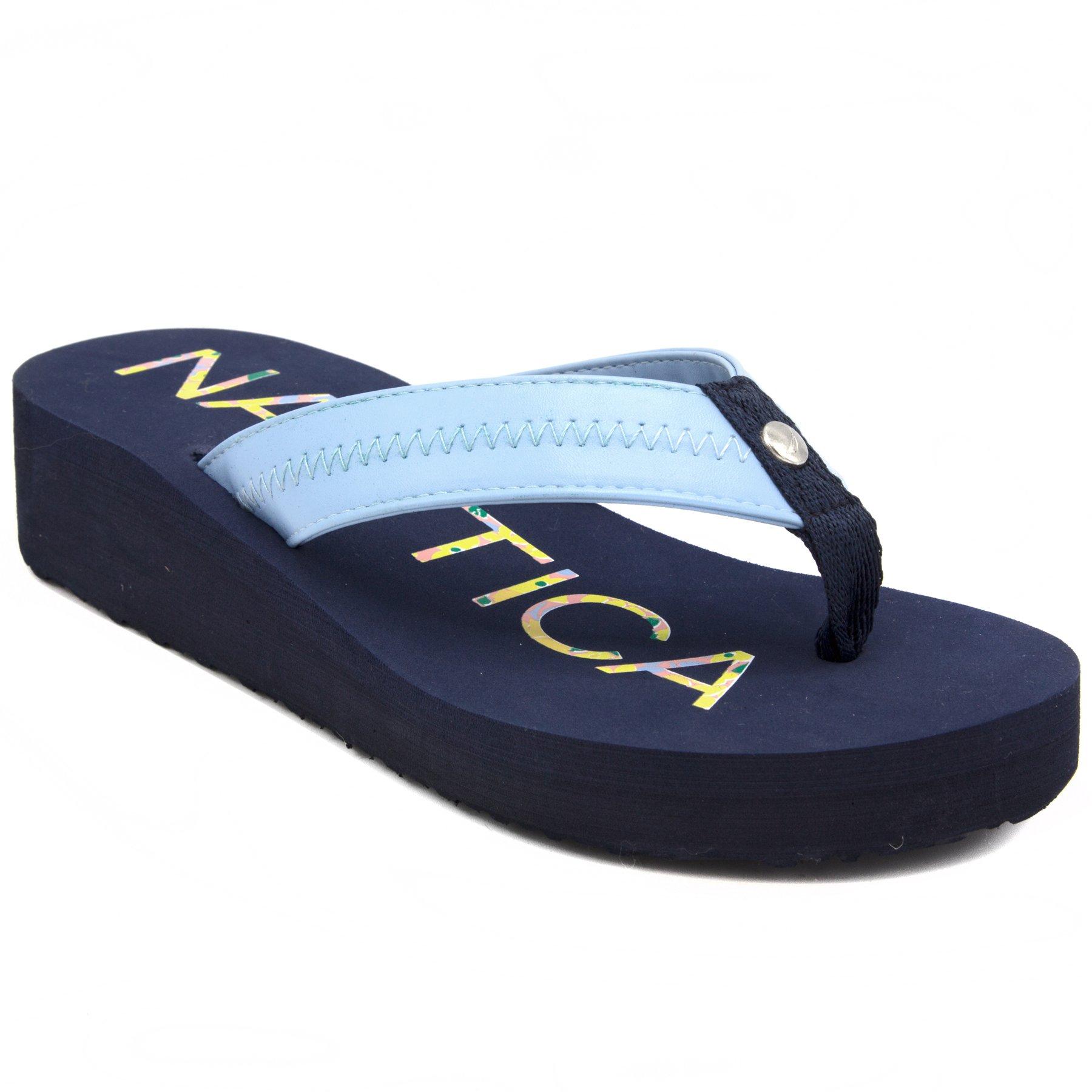 Nautica Women's Tedori Wedge Flip Flop, High Fashion Beach Sandal, Thong Style Slide Peacoat-8