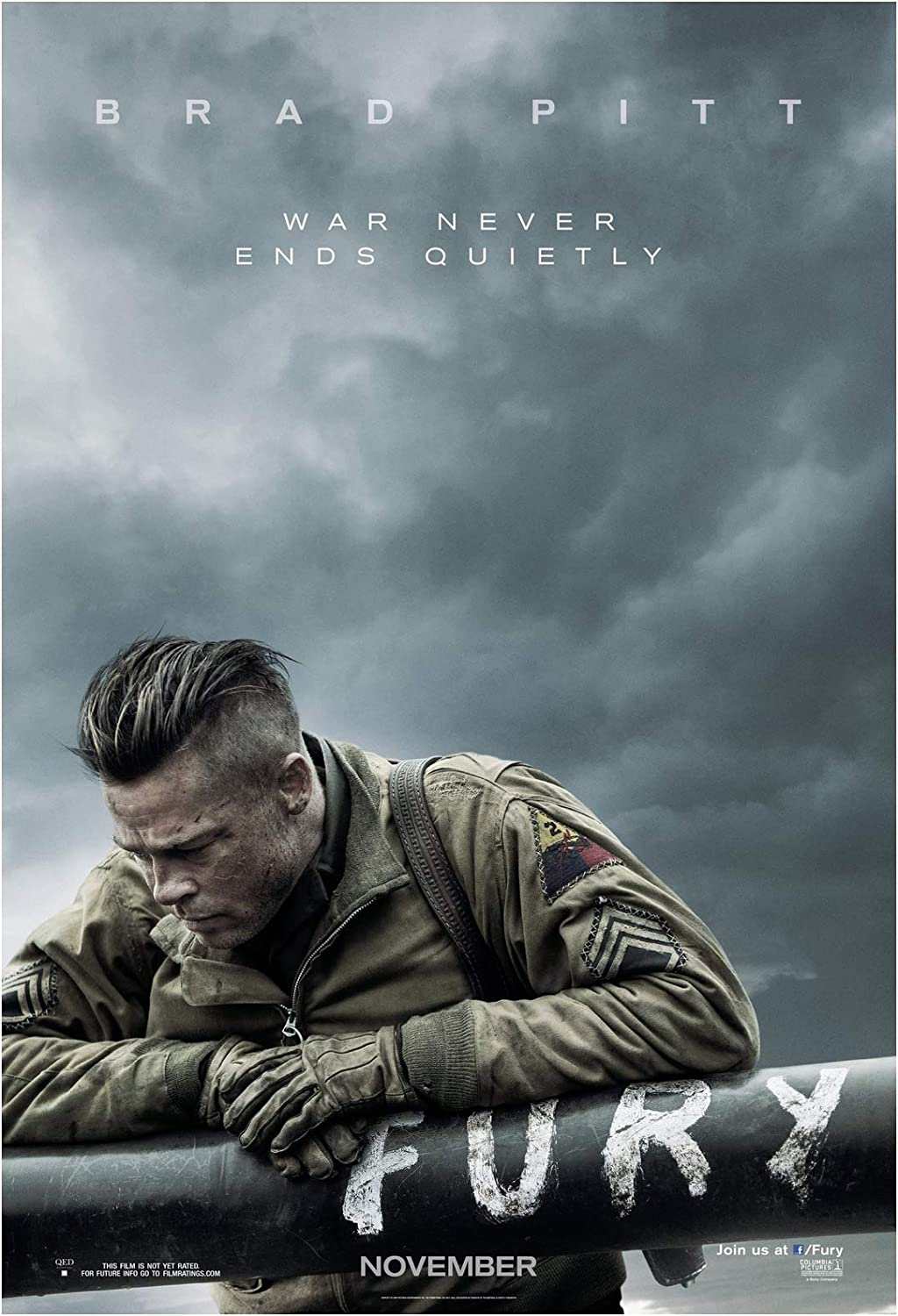 Fury Movie Poster 24 x 36 Inches Full Sized Print Unframed Ready for Display