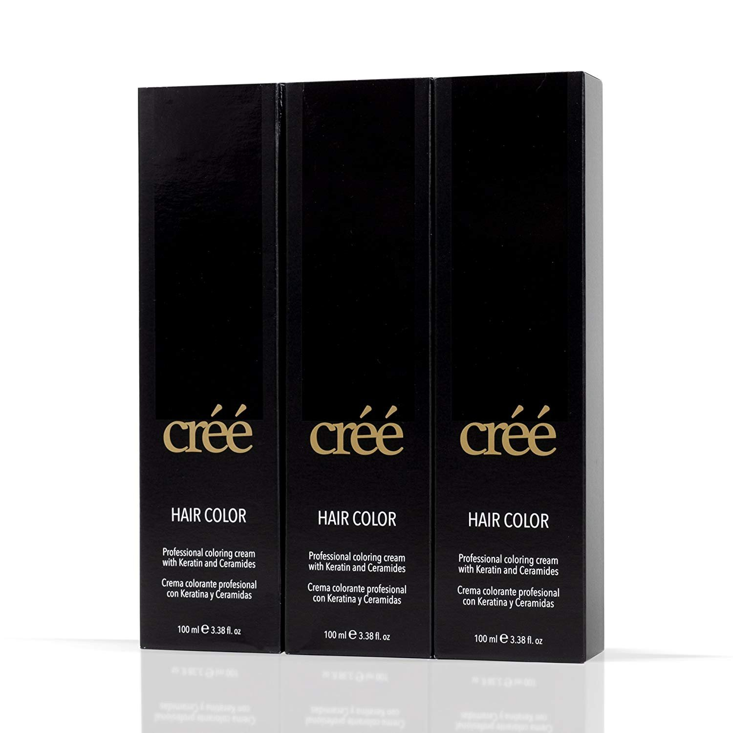 Cree Hair Color w/Keratin and Ceramides - 3.38 Fl oz - 3 Pack Professional Coloring Cream (1-Black)