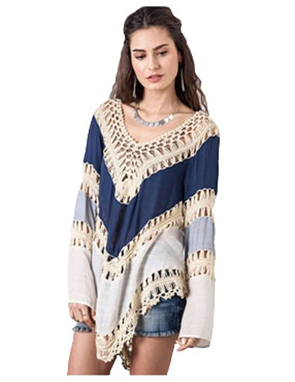 Umgee Womens Crochet Lace Fringe Boho Bohemian Blouse Top Frayed Blouse (Medium, Navy) at Amazon Womens Clothing store: