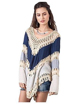 ad4945011afb93 Umgee Women s Crochet Lace Fringe Boho Bohemian Blouse Top Frayed Blouse at  Amazon Women s Clothing store