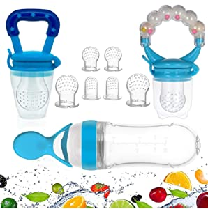 Gedebey Baby Food Feeder, Pacifier Fruit- Fresh Silicone Bottle Squeeze Spoon Frozen Fruit Pacifiers Nibbler Hygienic Cover Newborn with Meshes Sizes for Baby Food Spoon (Blue)