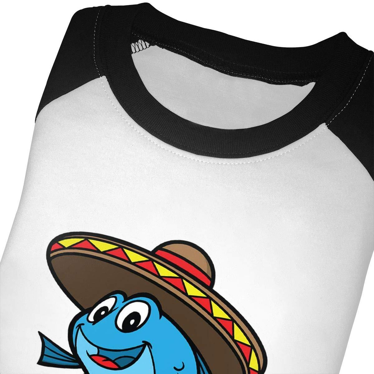 Yimo Fish Taco Unisex Toddler Baseball Jersey Contrast 3//4 Sleeves Tee