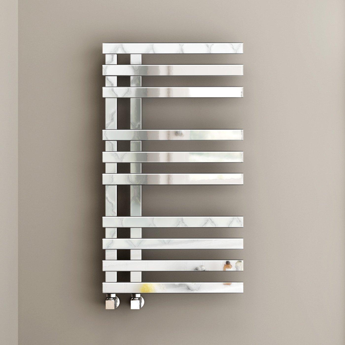 Soak Radiatore Scaldasalviette di Design, Tubi Quadrati, 820 x 450 mm - Tutte le Dimensioni - Cromato