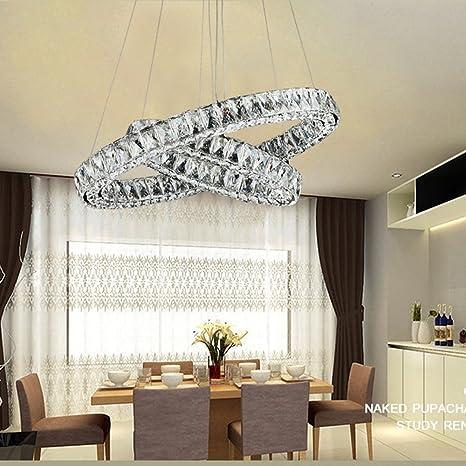 Lámparas cromo colgante luz 2 anillos Plafón de cristal ...