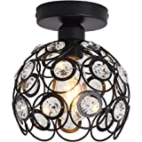 Chandelier Crystals Farmhouse Ceiling Lighting Fixtures LED Flush Mount Crystal Ceiling Light for Kitchen Black Lamp for Hall