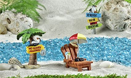 Mini World Retirement Tropical Theme Fairy Garden Figurines 3 Piece Set  700309