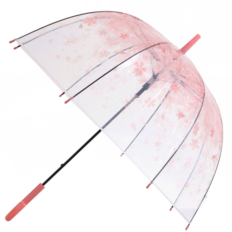 Artiron Cherry Blossoms Clear Umbrella Bubble Fashion Dome Auto Open Transparent Umbrella for Outdoor Weddings Windproof (Pink)