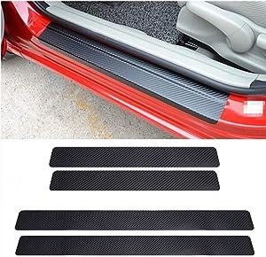 LANZMYAN Car Door Sill Protector Universal 3D Carbon Fiber Scuff Protective Door Sill Cover Panel Sticker 4PCS