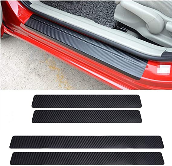 3M Adhesive and Easy Installation ACEOLT 4pcs Carbon Fiber Leather Anti-Scratch Car Door Protector Sill Scuff Guard Kick Plate Sticker for Volvo S90